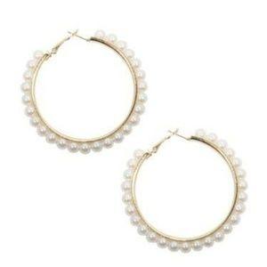Adorning Ava Basic Gold Pearl Hoop Earrings #33